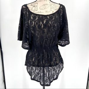 Forever 21 Lace Swimsuit Cover Up Black Sz Medium